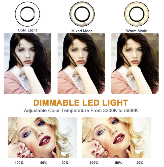 """Ring Light Kit 10"""" Dimmable LED Bulbs 128 pcs Self-Portrait Shooting with tripod stand and phone holder for Camera, Smartphone, YouTube"""